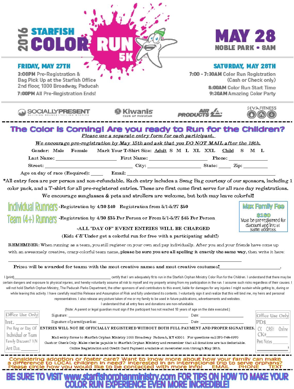 Color Run Entry Form 2016